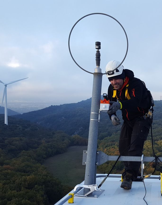 Windfit box set up at the top of a turbine in a windfarm operated by RES