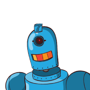 A blue robot with a single eye and and light-up teeth.